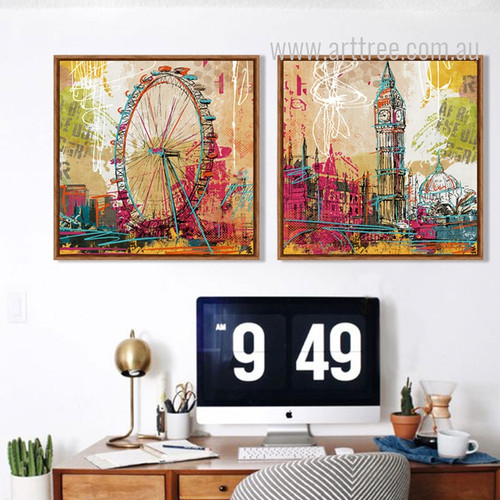 Retro Vintage London Eye Giant Ferris Wheel and Big Ben Clock Tower Canvas Prints