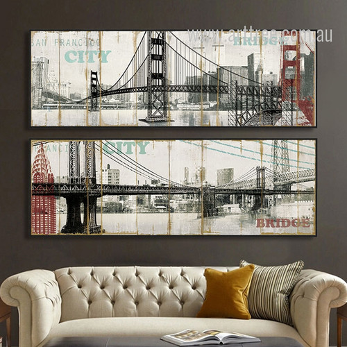 Retro Brooklyn Bridge in San Francisco City New York Long Vertical Wall Art