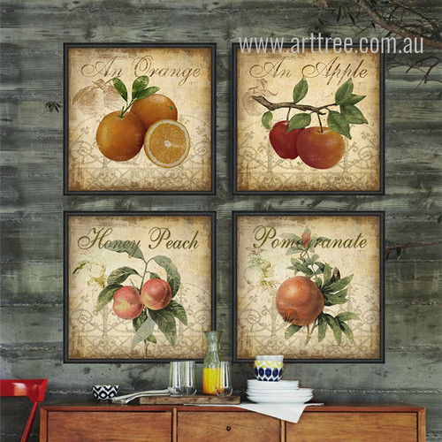 Retro Style Apple, Orange, Honey Peach, Pomegranate Fruits Kitchen Decor