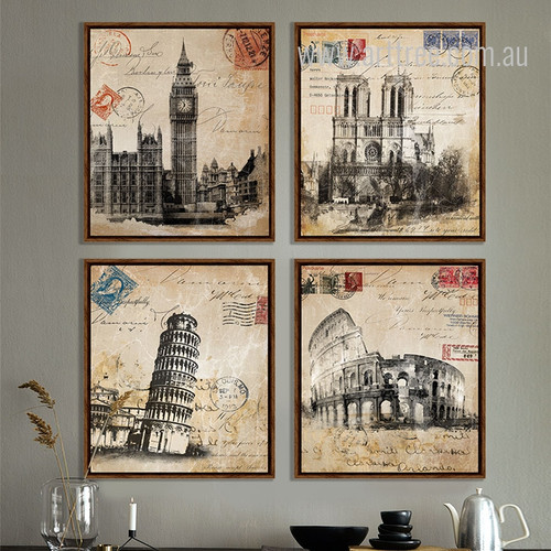 Retro Vintage Italy Colosseum, Pisa Leaning Tower Large Wall Art