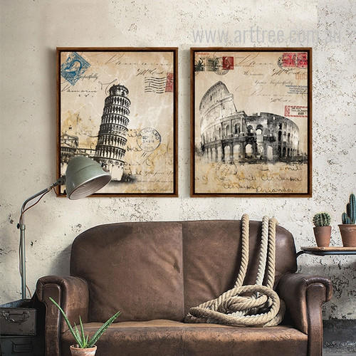 Retro Vintage Italy Colosseum, Pisa Leaning Tower Building Theme Canvas Prints
