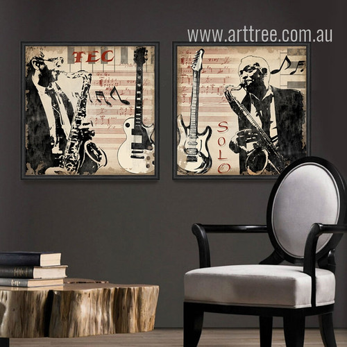 Musical Instruments Saxophone Guitar Men Retro Prints