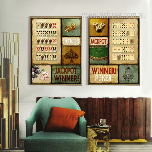Casino Gambling Jackpot Winner Poker Retro Vintage Prints