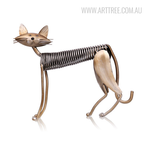 Handmade Standing Spring Cat Metal Sculpture