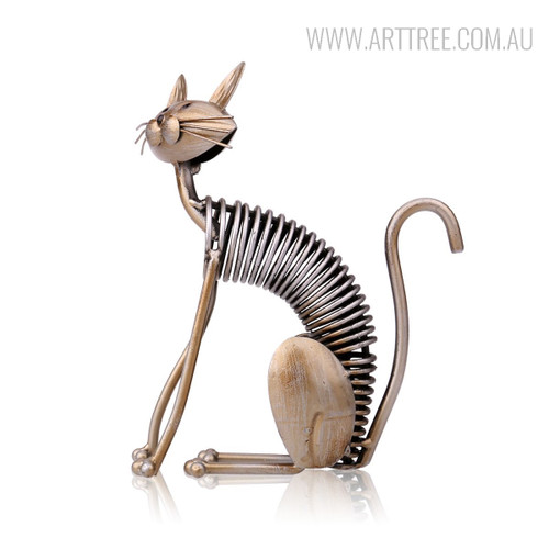 Handmade Sitting Spring Cat Metal Sculpture