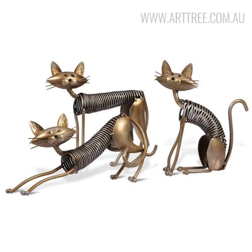 Metal Spring Cat Shaped Animal Sculptures