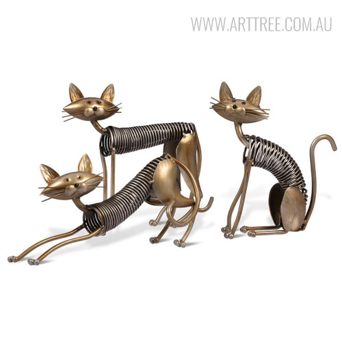 Metal Spring Cat Shaped Animal Sculptures