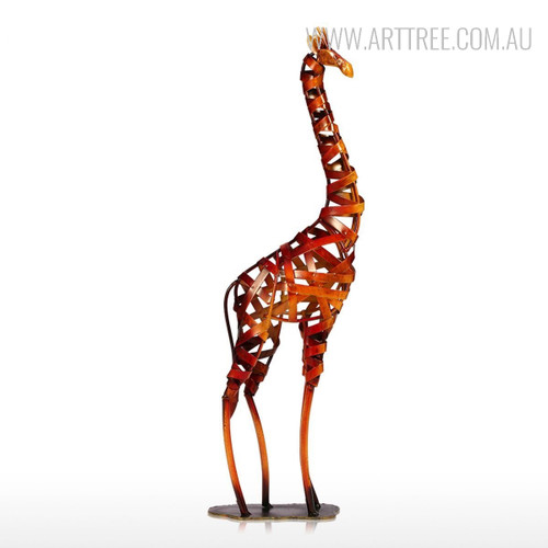 Iron Braided Giraffe Animal Metal Sculpture