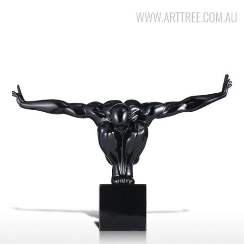 Black Resin Strong Muscular Diving Posture Sculpture