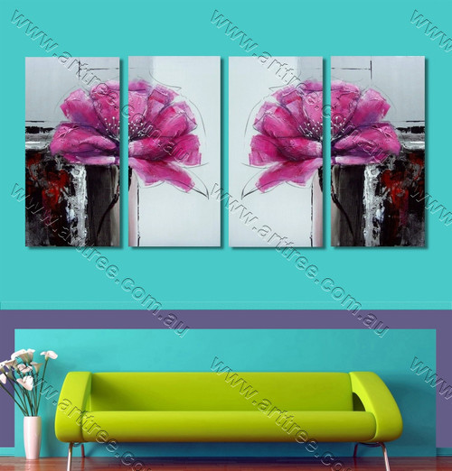 Pink Peony Floral multi panel wall painting
