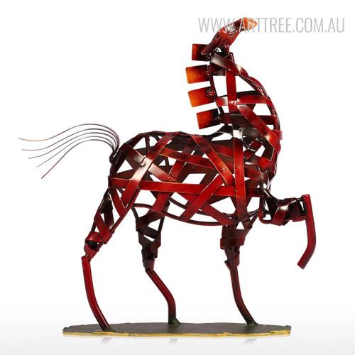 Metal Sculpture Vintage Braided Horse Animal Figurine for Home Decor