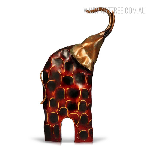 Iron Head Elephant Sculpture Metal Figurine