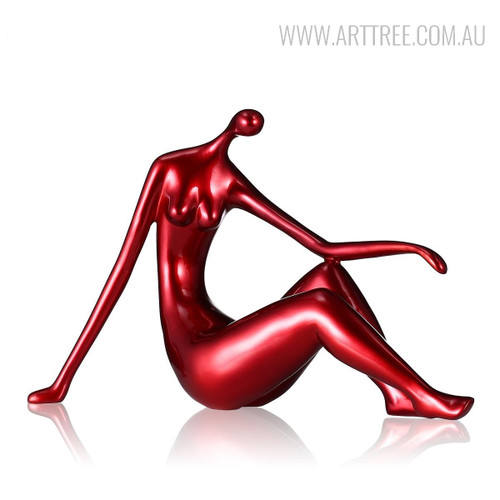 Red Reclining Woman Figurine Resin Sculpture