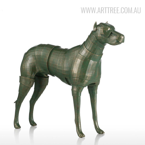 Armor Dog Animal Fiber Glass Sculpture for Home Decor