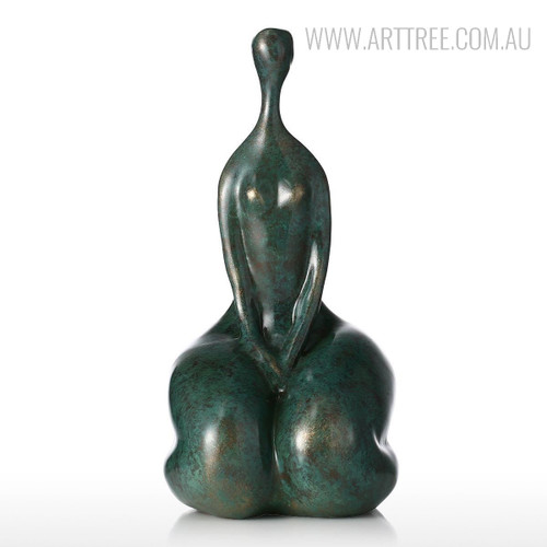 Deep Green Handmade Kneel Resin Sculpture