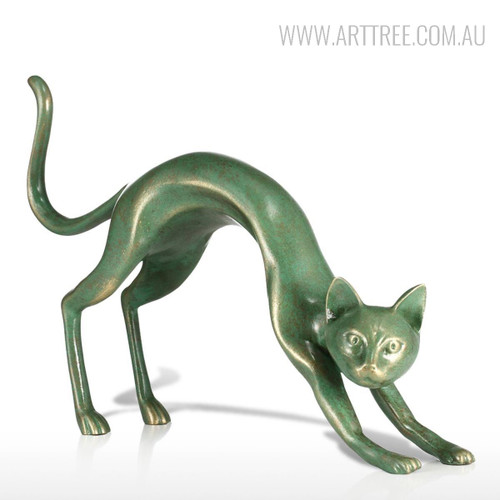 Stretching Cat Animal Fiber Glass Figurine Bronze Sculpture