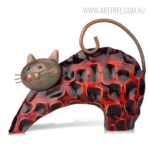 Lazy Cat Iron Metal Sculpture Animal Statue