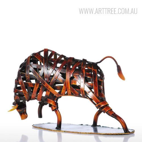 Braided Brown Cattle Iron Metal Sculpture Figurine