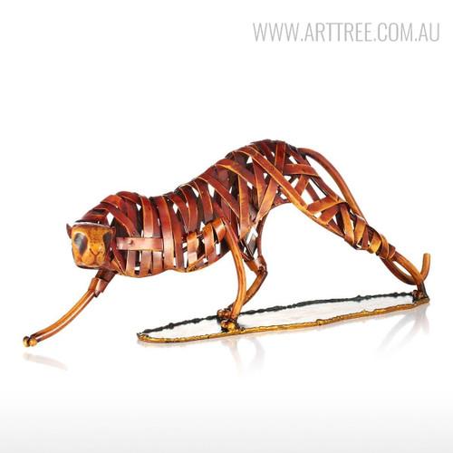 Iron Braided Leopard Metal Sculpture Animal Figurine