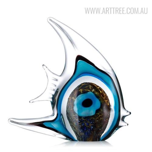 Blue Stripe Tropical Fish Glass Sculpture Aquatic Figurine