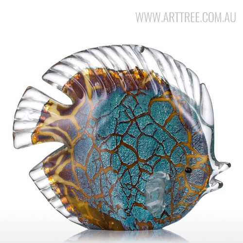 Colorful Tropical Butterflyfish Glass Sculpture Pisces Miniature