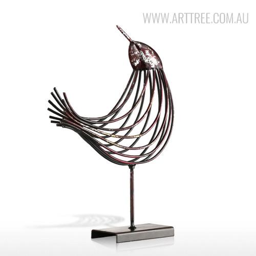 Iron Metal Bird Figurine Silver Wire Sculpture