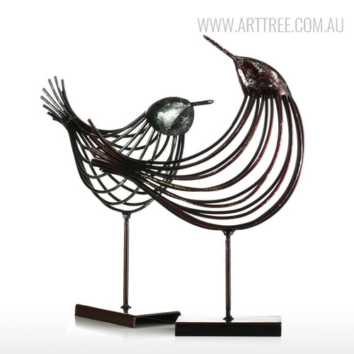 Set of Iron Metal Bird Figurines Silver Wire Sculpture