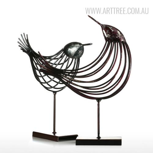 Set of Iron Metal Bird Figurines Silver Wire Sculpture