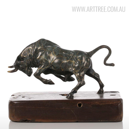 Unstoppable Running Bull Copper Metal Sculpture Animal Figurine