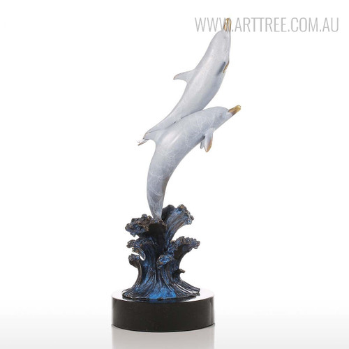 Dolphins Out of Water Copper Metal Sculpture Bluish Grey Statue