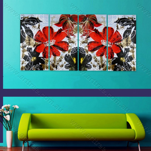 Red Calendula Floral multi panel wall art painting