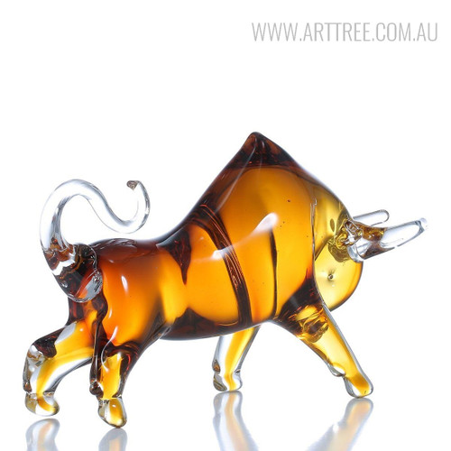 Handmade Yellow Cattle Animal Glass Sculpture Art