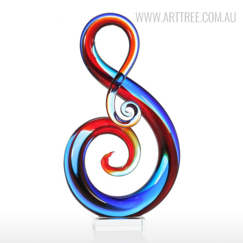 Musical Note Design Glass Statue Sculpture Art