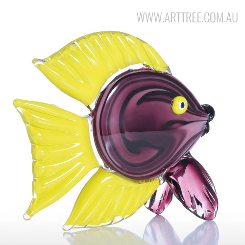 Yellow Tang Fish Glass Sculpture Tropical Miniature