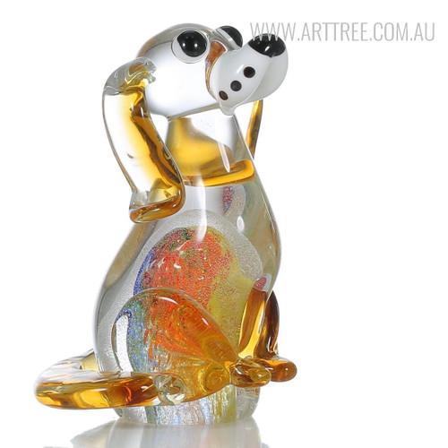 Puppy Dog Glass Figurine Animal Sculpture Art