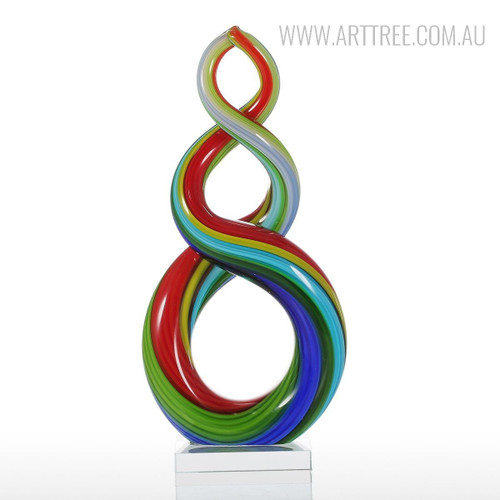 Colorful Ribbon Glass Sculpture Abstract Figurine
