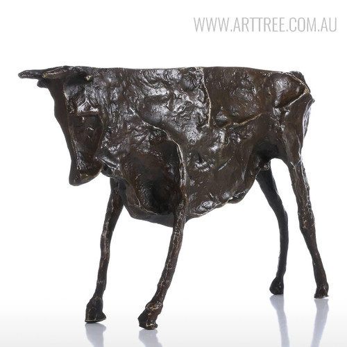 Black Wild Cattle Bronze Sculpture Animal Figurine