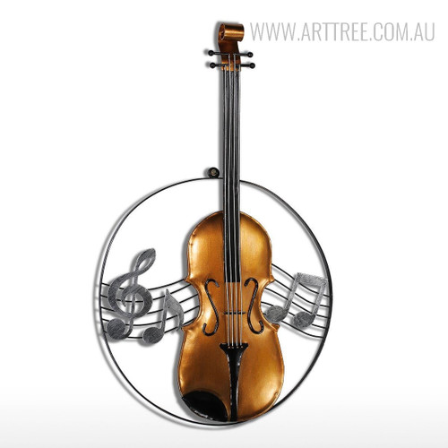 Iron Metal Violin Sculpture Art Wall Hanging Musical Instrument Figurine