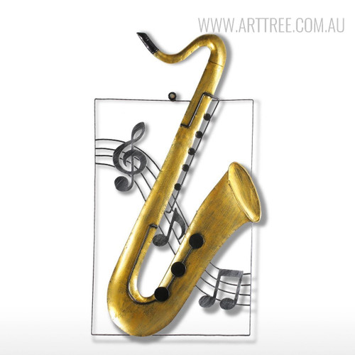 Handmade Iron Metal Saxophone Sculpture Art Musical Instrument Figurine