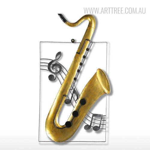 Handmade Iron Metal Saxophone Sculpture Art Musical Instrument Figurine