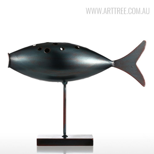 Dark Grey Fish Style Submarine Figurine Iron Metal Sculpture