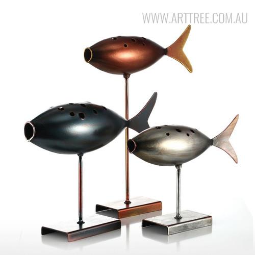 Set of Fish Style Submarine Figurines Iron Metal Sculptures