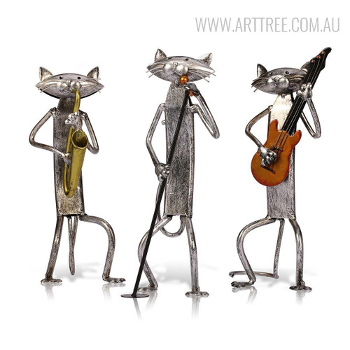 Three Mini Cats Orchestra Band Miniatures Iron Metal Musician Sculptures