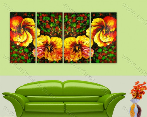 Yellow Pansy Floral split canvas painting