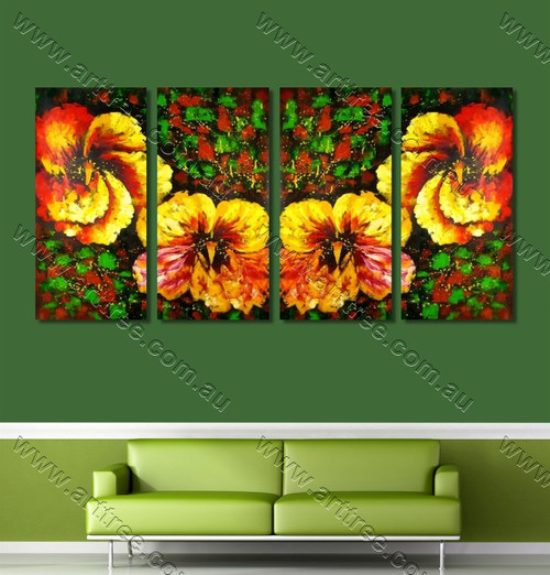 Yellow Pansy Floral multi panel wall art painting