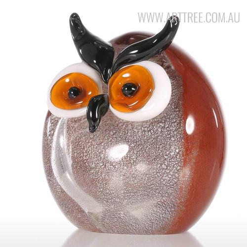 Chubby Owl Miniature Bird Glass Sculpture
