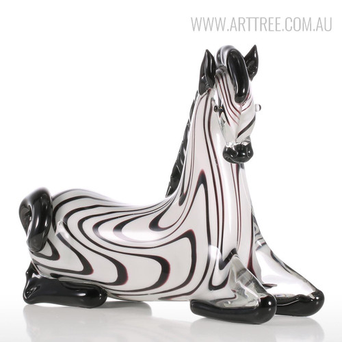 Zebra Glass Figurine Animal Sculpture Art