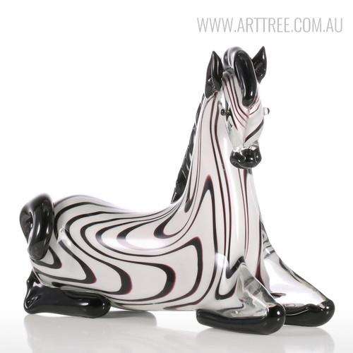 Zebra Glass Figurine Animal Sculpture Art