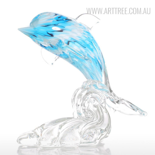 Dolphin Leaping Out of Water Glass Sculpture Transparent Blue Figurine