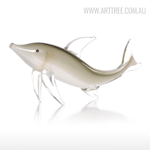 Grey Dolphin Glass Figurine Aquatic Fish Sculpture